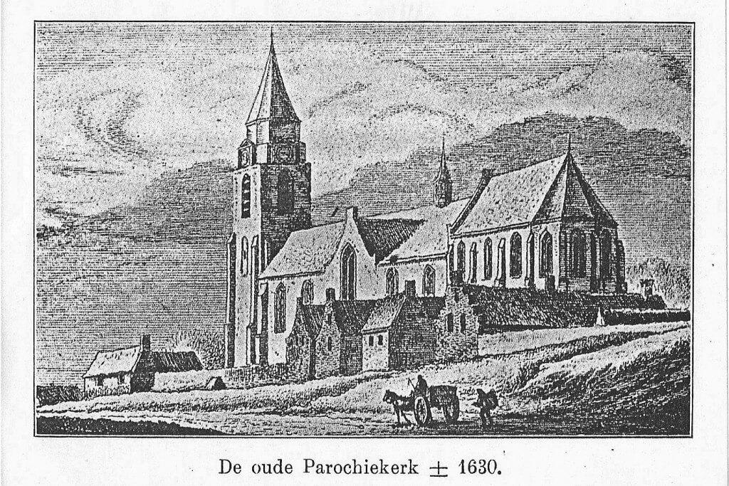 De oude parochiekerk ± 1630 Kopergravure van A. Rademaker