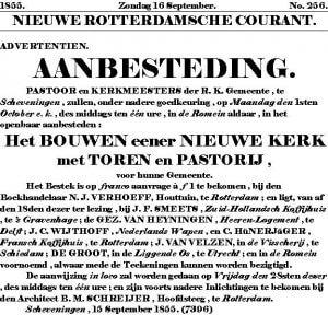 Aanbesteding 1855 (Architect B.M. Schreijer)